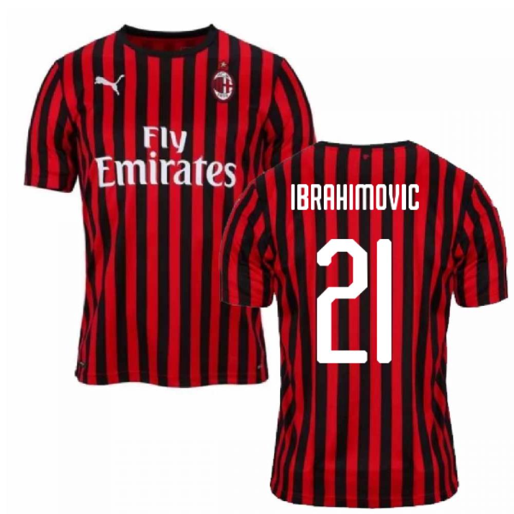 2019-2020 AC Milan Puma Authentic Home Football Shirt (Ibrahimovic 21)