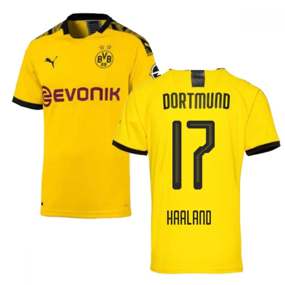 2019-2020 Borussia Dortmund Puma Authentic Home Football Shirt (Haaland 17)