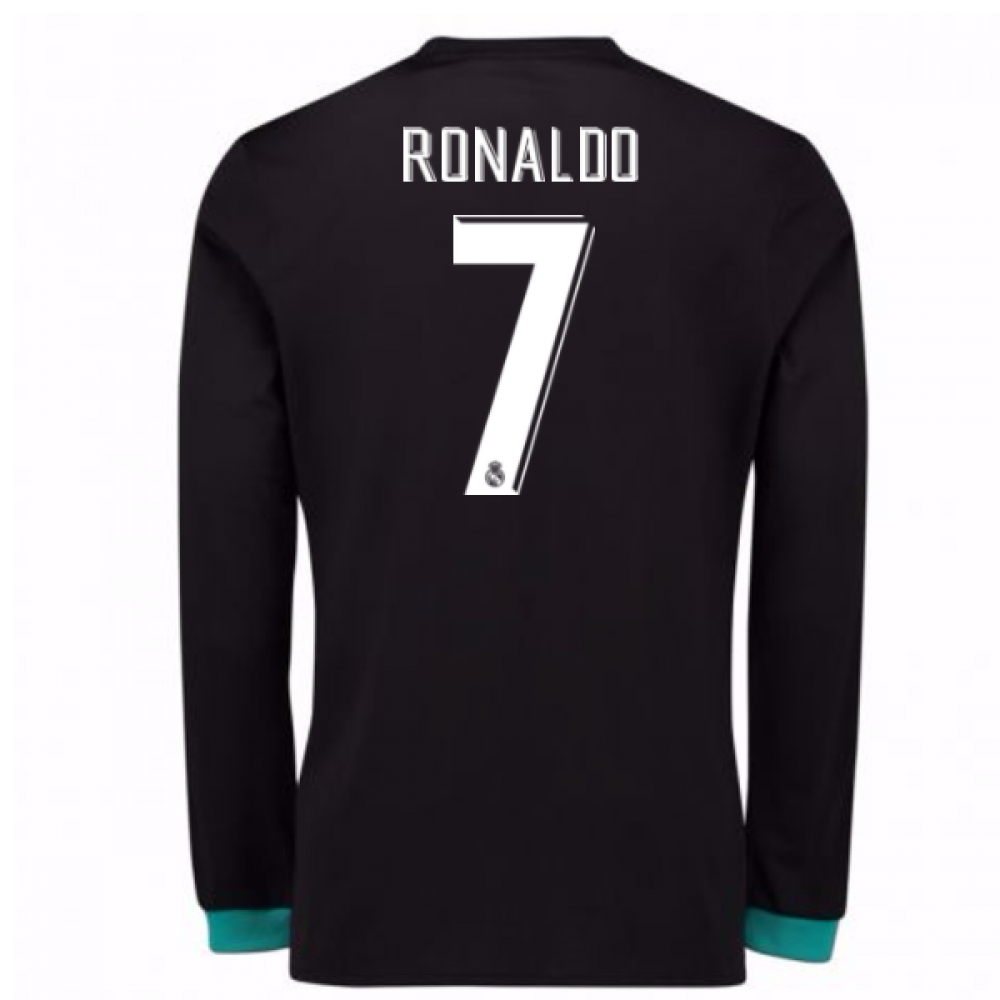 san francisco 4be26 fbc77 2017-18 Real Madrid Away Long Sleeve Shirt - Kids (Ronaldo 7)