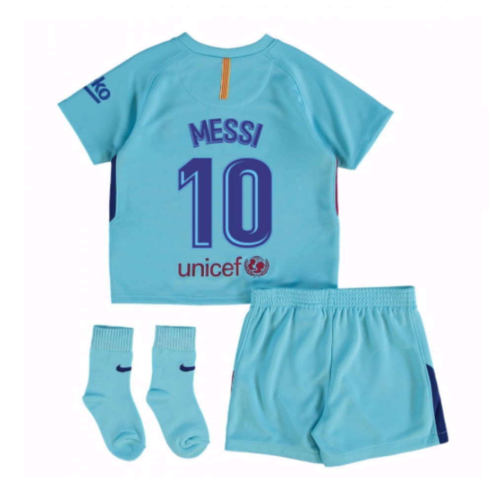 pretty nice dbc1f 49b5c 2017-2018 Barcelona Away Baby Kit (Messi 10)