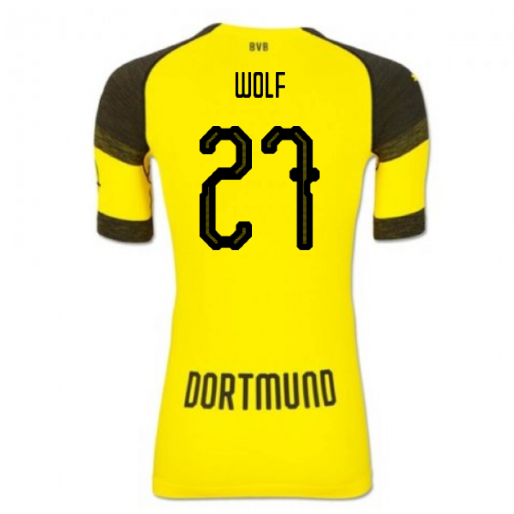 2018-2019 Borussia Dortmund Puma Authentic EvoKNIT Home Football Shirt (Wolf 27)
