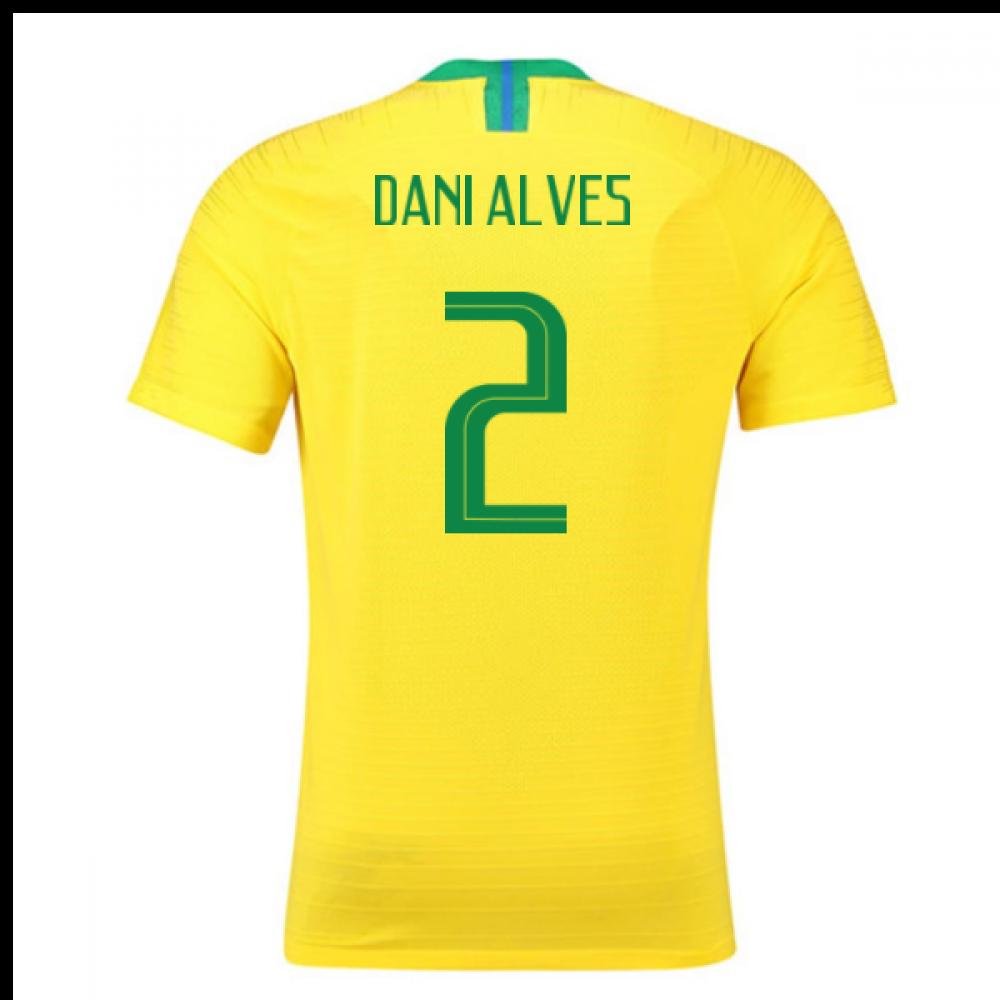 2018-2019 Brazil Home Nike Vapor Match Shirt (Dani Alves 2)