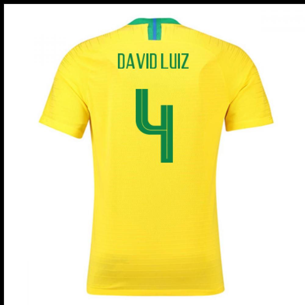 2018-2019 Brazil Home Nike Vapor Match Shirt (David Luiz 4)