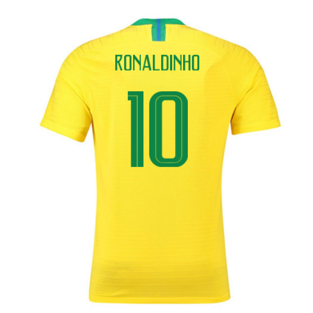 2018-2019 Brazil Home Nike Vapor Match Shirt (Ronaldinho 10)