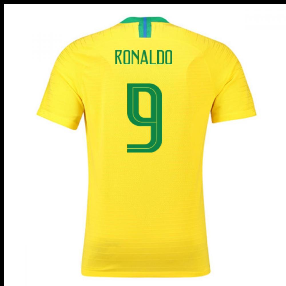 2018-2019 Brazil Home Nike Vapor Match Shirt (Ronaldo 9)