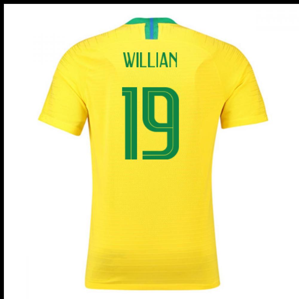 2018-2019 Brazil Home Nike Vapor Match Shirt (Willian 19)