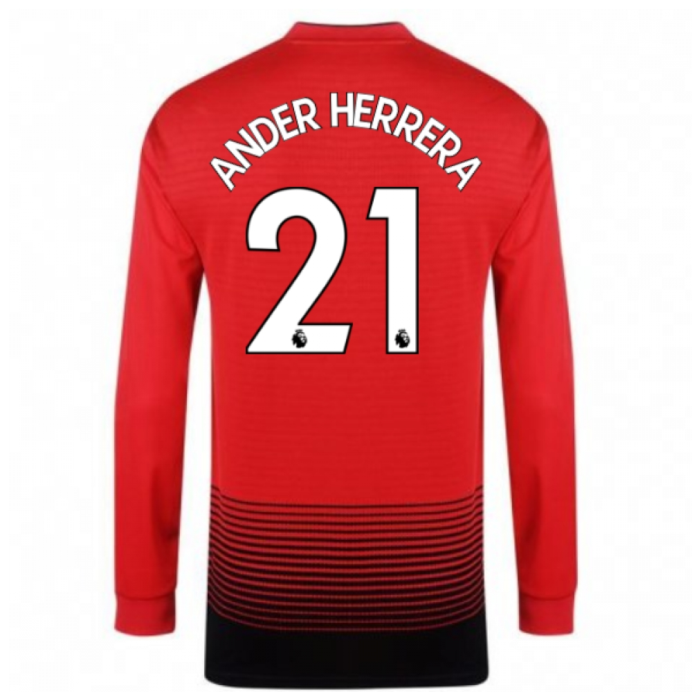 2018-2019 Man Utd Adidas Home Long Sleeve Shirt (Ander Herrera 21)
