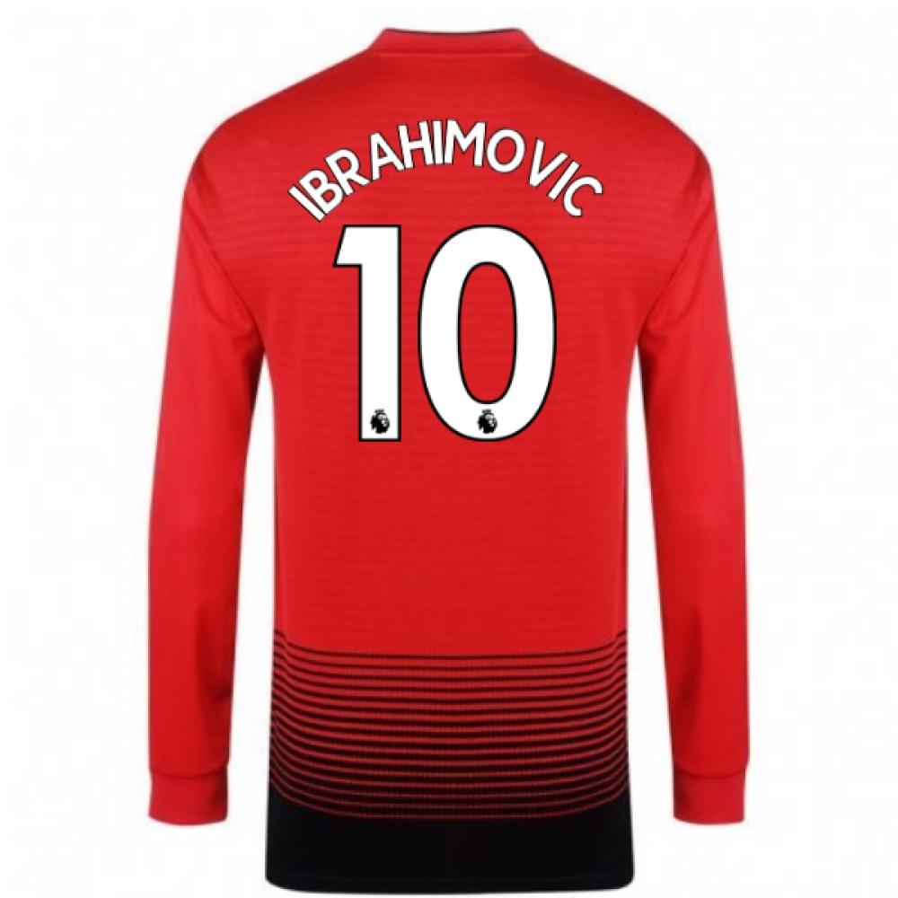2018-2019 Man Utd Adidas Home Long Sleeve Shirt (Ibrahimovic 10)
