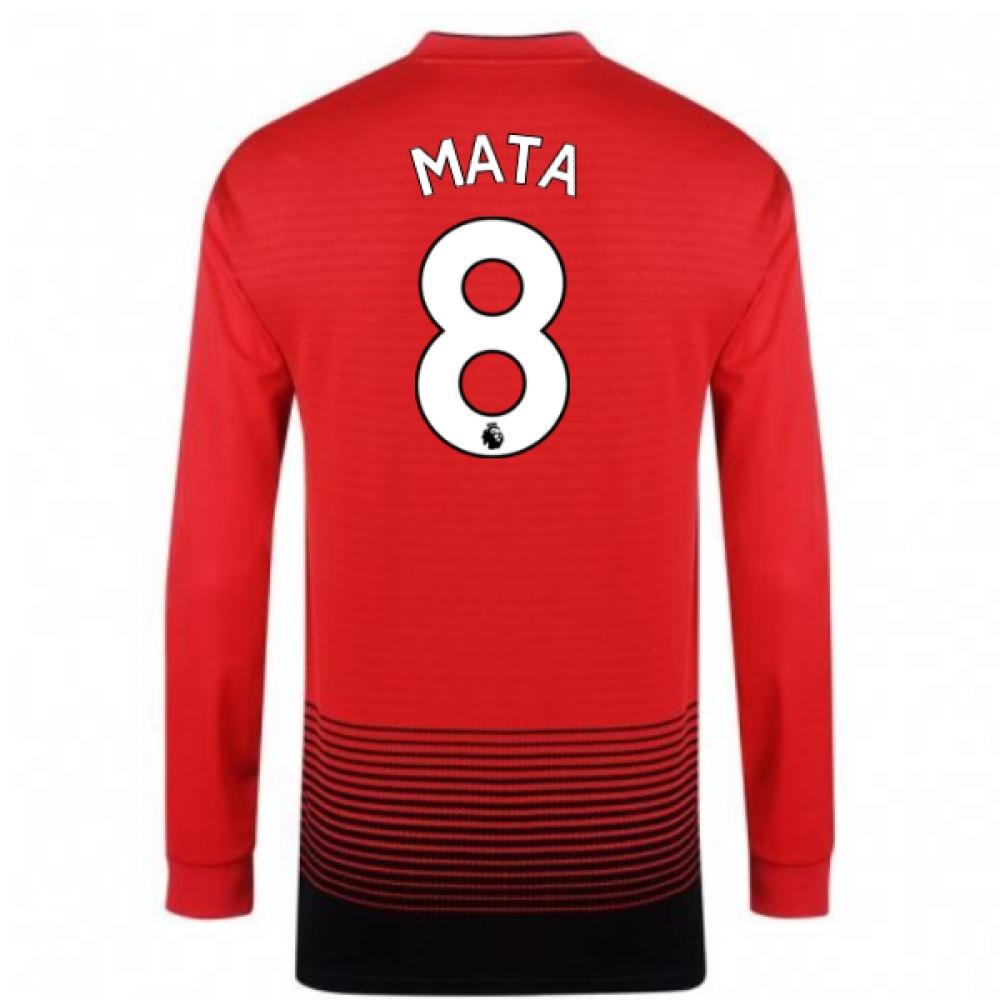 2018-2019 Man Utd Adidas Home Long Sleeve Shirt (Mata 8)