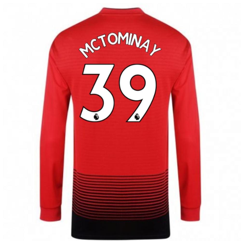 2018-2019 Man Utd Adidas Home Long Sleeve Shirt (McTominay 39)