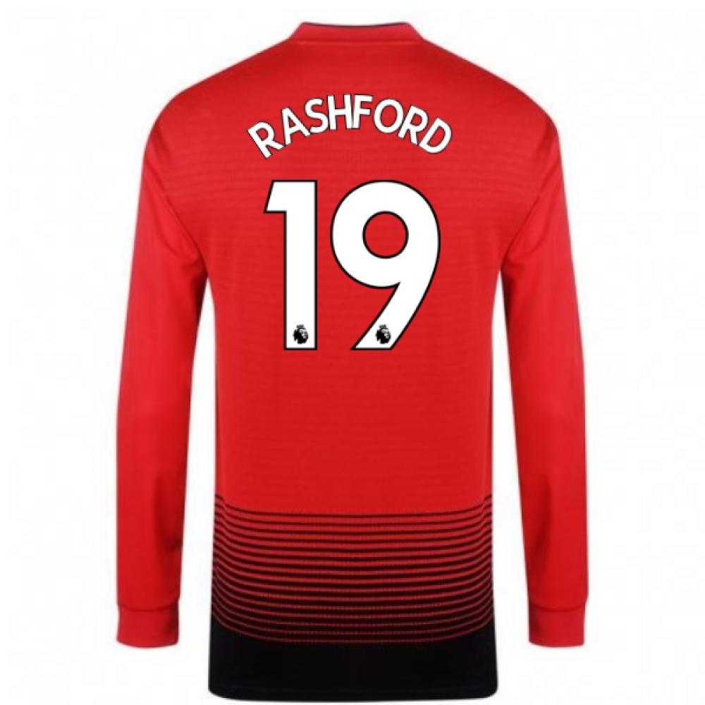 2018-2019 Man Utd Adidas Home Long Sleeve Shirt (Rashford 19)