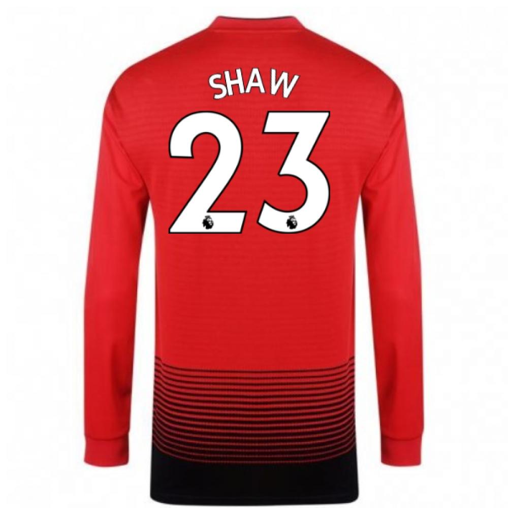 2018-2019 Man Utd Adidas Home Long Sleeve Shirt (Shaw 23)