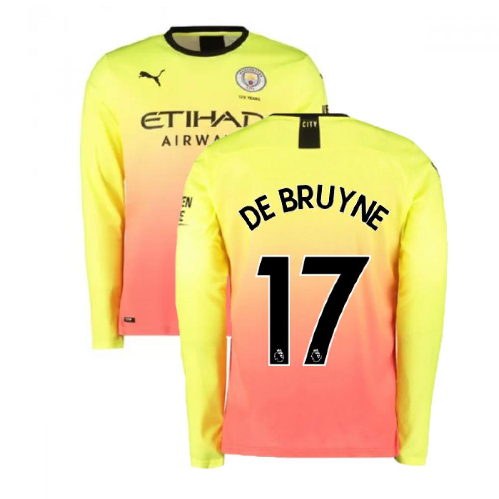 2019-2020 manchester city puma third long sleeve shirt (de bruyne 17)