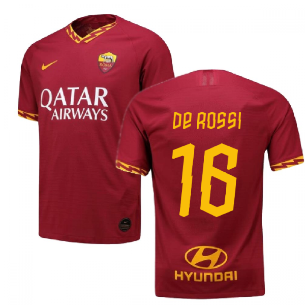 2019-2020 Roma Authentic Vapor Match Home Nike Shirt (DE ROSSI 16)