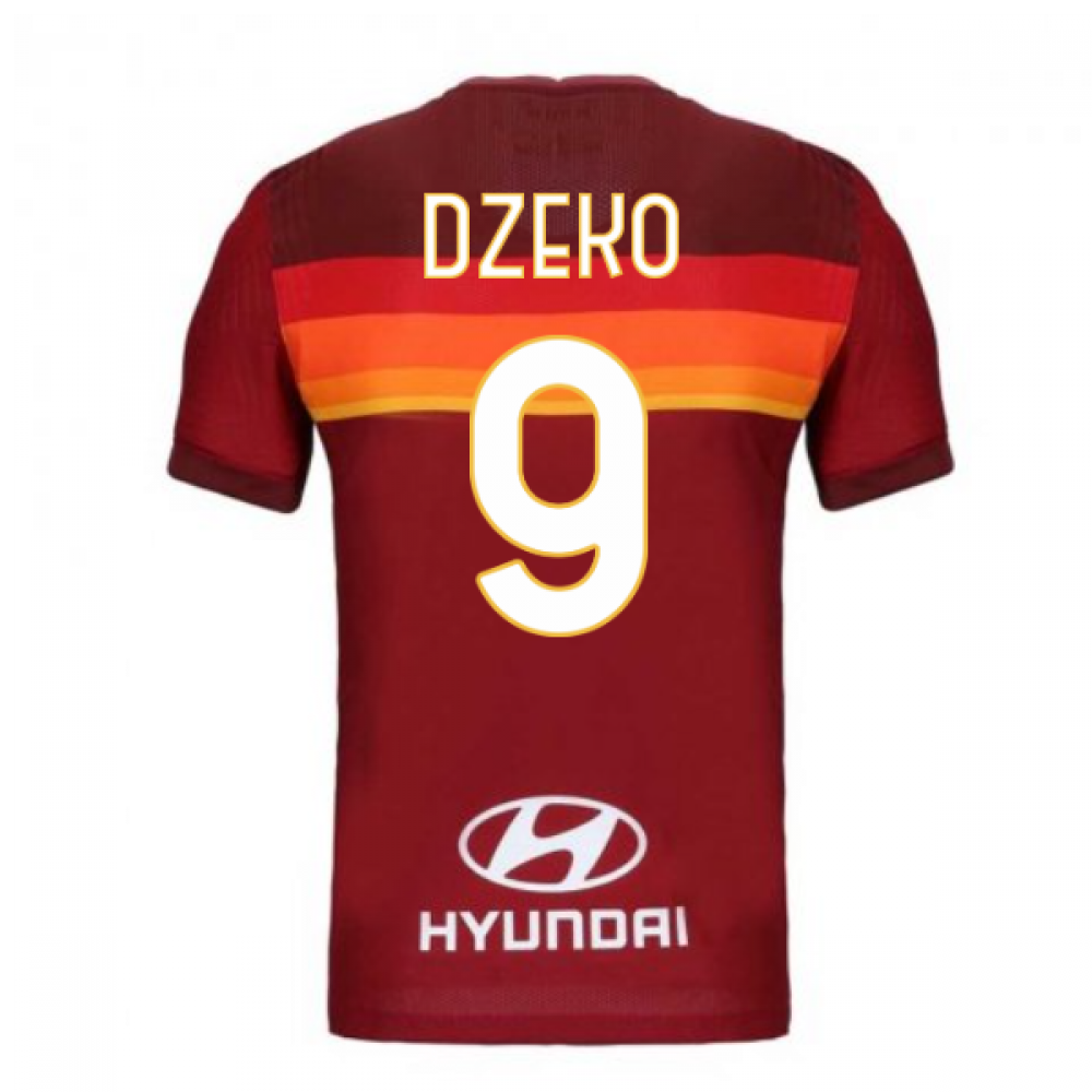 2020-2021 Roma Authentic Vapor Match Home Nike Shirt (DZEKO 9)
