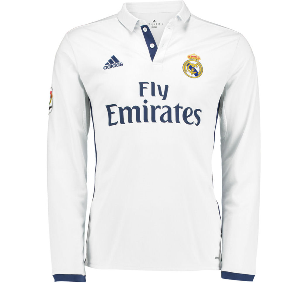 new style 010c3 92365 2016-2017 Real Madrid Adidas Home Long Sleeve Shirt (Kids)