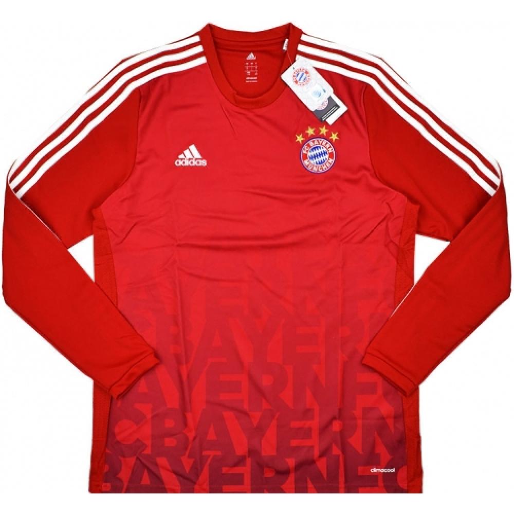 2015-16 Bayern Munich Adidas Authentic Pre-Match Training Long Sleeve Shirt (Red)